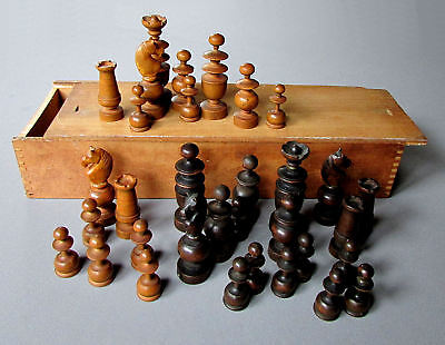ANTIQUE 19th Century CARVED WOOD CHESS SET with BOX