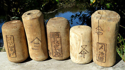 Japanese Fishing Floats WOODEN Lot-5 ANTIQUE Cylinder Kanji-Marked ANCIENT