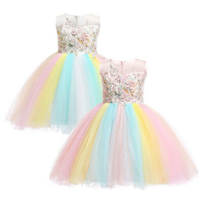 Flower Girl Unicorn Tutu Dress Rainbow Princess Birthday Party Christmas Costume