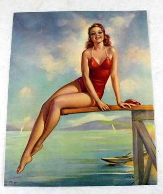 "Rare 1930s Jules Erbit ""Diving Diana"" Salesman Sample Pin Up Calendar Litho"