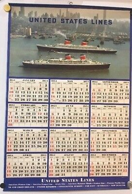 United States Lines, New York 1954 Calendar/Poster, 20 X 29