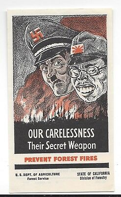 WW2 Propaganda by US Dept of Agriculture Prevent Forest Fires in color 2 7/8 x 5