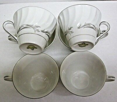 Harmony House Lot of 6 Cups Platinum Scroll 3643, Japan Discontinuing all china