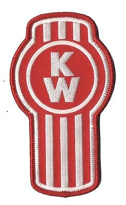 """KENWORTH 4"""" Tall Red/White Embroidered Iron-on PATCH Made In USA!"""
