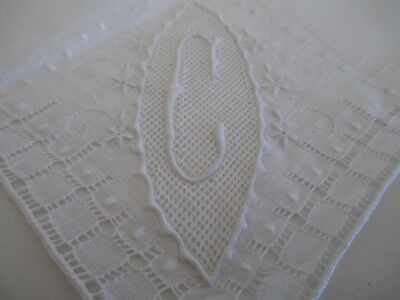 Vintage Handkerchief Ladies Hankie Monogram C White