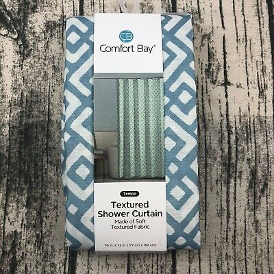 Comfort Bay Textured Fabric Shower Curtain Blue White 70 In W X 72