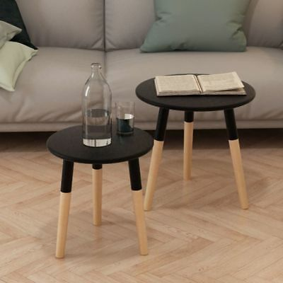 Side Table Set 2 Pieces Solid Pinewood Black