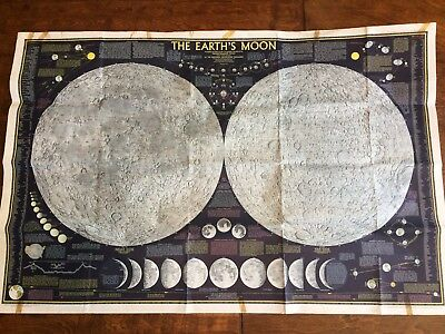 "Vintage 1969 Map The Earth's Moon  from National Geographic 42"" x 27"""
