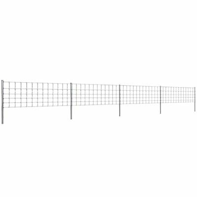 Step-In Fence 50 m with Post Galvanized Wire Fence 80/6/30 Outdoor Lawn Garden