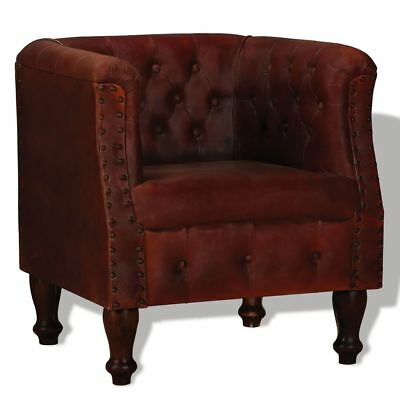 Armchair Real Leather Brown Home Living Dining Room Office Lounge Furniture NEW
