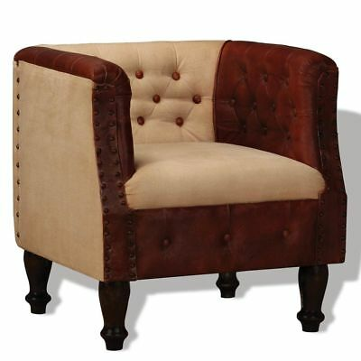 Armchair Real Leather and Fabric Brown and Beige