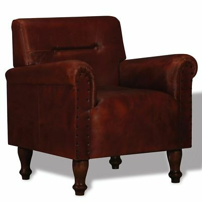 Armchair Real Leather Brown