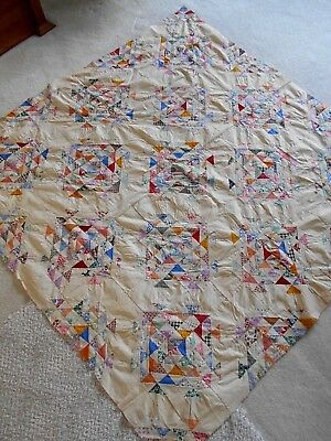 Antique/Vintage Quilt Top Tiny Triangles Hand Sewn Feed Sack Fabric Cotton GUCon