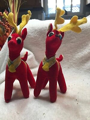 Vintage Mini Red Plush Christmas Reindeer Lot 2 Japan 30Y