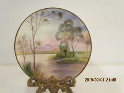 Lovely Antique Nippon Hand Painted Scene Wall Plaque Plate Green Wreath Mark