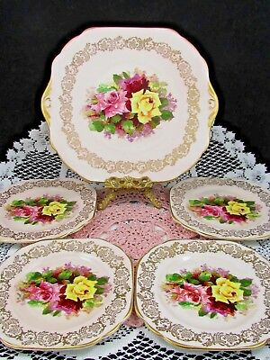 Stanley Red Pink Yellow Roses Fancy Gold Dessert Set Cake Plate