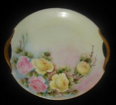 Antique Bavaria Hand Painted Cake Plate Large Pink Yellow Roses 1900