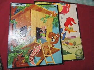 4 Vintage Whitman Frame Tray Puzzles, Woody Woodpecker, Tom & Jerry, Fury, Santa