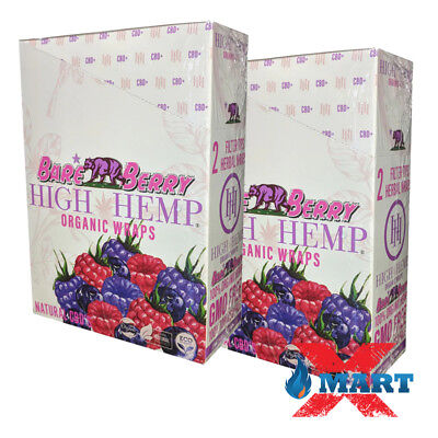 High Hemp Bare Berry Organic Wraps 2 Box 50 Pouch (100 Wraps) NON GMO