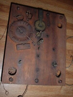Antique Marsh Williams Wooden Works Clock Movement Early 1800's Parts Repair