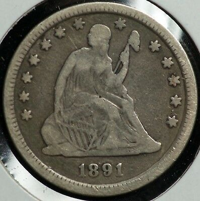 1891 Seated Liberty Quarter 25C Coin