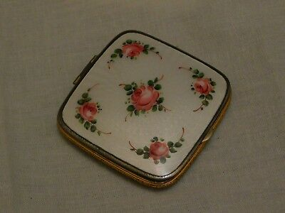 Beautiful Cloisonne White Guilloche Enamel Compact Ornate Edge Detail Pink Rose