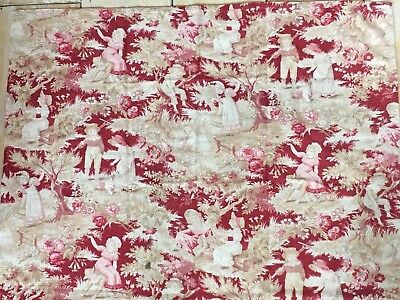 Antique French Toile Fabric Pink Roses Red Apple Orchard Dresses