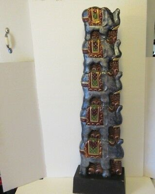 "Vtg. Hand Carved Hand Painted Solid Wood ELEPHANTS Tower, Totem Pole 37"" Tall"