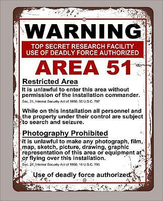 "Metal Sign 12""x18"" vintage look warning Area 51 funny decorative"