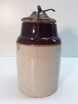 Antique Crock With Lid Stoneware Salt Glaze From The 1800's J4