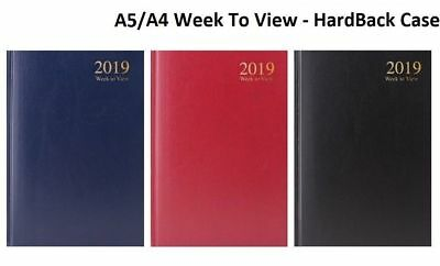 2019 A4 A5 Size Week to View Desk Diary- Desk Diary Office Diary Hardback Case