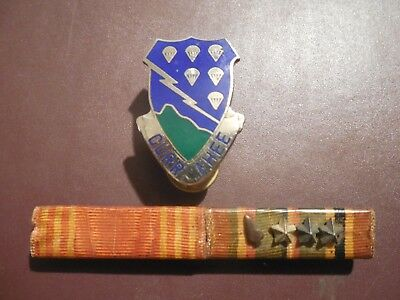 WWII Ribbon ETO Invasion Arrowhead Device 506th Airborne Infantry Crest Pin Lot