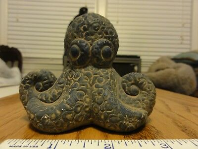 Aquarium Fish Tank Ceramic Figurine Octopus Vintage 3.5 inches, Blue Gray