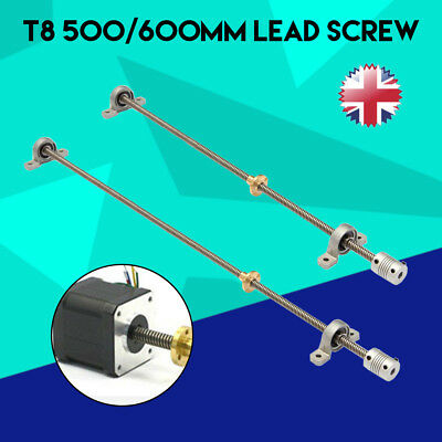 8mm x 500mm Lead Screw Rod Lead + Nut + End Support + Coupler For 3D Printer