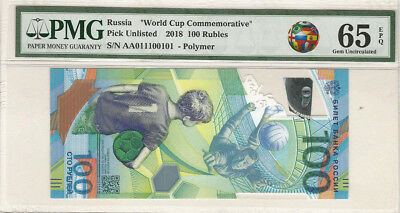Russia 2018 FIFA World Cup Commemorative 100 Ruble Fancy Binary 011100101 PMG 65