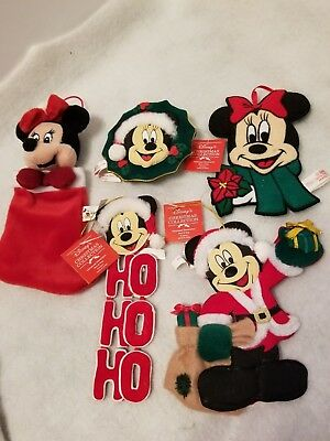 Lot Of 5 Vintage Mickey And Minnie Mouse Disney World Christmas Ornaments Plush