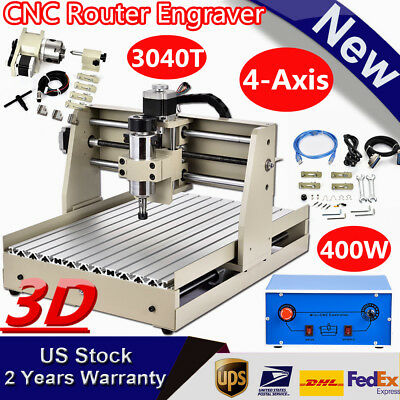 New 4 Axis 3040 Usb Cnc Router Engraver Engraving 3D Cutter Desktop Cutting 400W