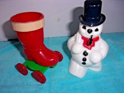Pair Of Hard Plastic Vintage Candy Holders Boot On Wheels & Snowman With A Pipe