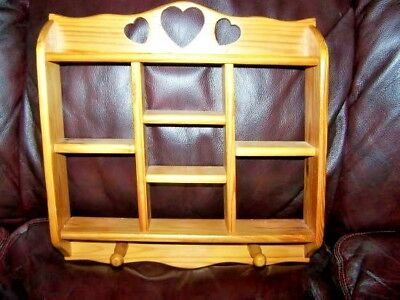 Vtg Handcrafted Wall Curio Wood Shelf 7 Sections Heart Cut-Out Top Shelf, 2 Pegs