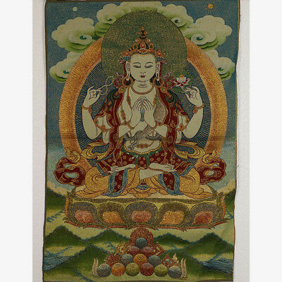 Tibet Collectable Silk Hand Painted Four wall Lotus Kwan-yin  Thangka RK037