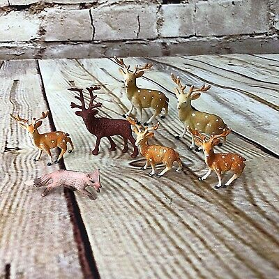 VTG plastic reindeer figurines and fox hong kong nativity mid century lot of 7