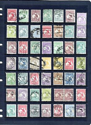 Australia Kangaroo Stamp Bulk Lot Of 49 To 5/- Shilling Good To Fine Used, Pairs