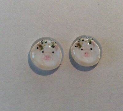 12mm Cute Little Piggy Wearing Flowers Cabochons - Glass Domed