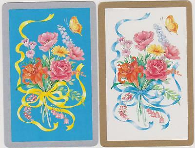 Swap/Playing Cards ~ BOUQUET OF FLOWERS WITH RIBBON AND BOW ~ Vintage Pair