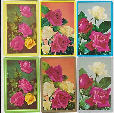 Swap/Playing Cards ~ BEAUTIFUL ROSES ~ Vintage x 3 Pair