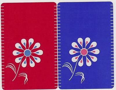 Swap/Playing Cards ~ PRETTY RETRO FLOWER ~ Vintage Linen Pair