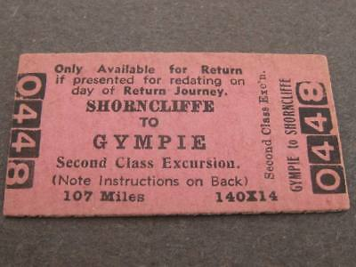 GYMPIE to SHORNCLIFFE 2nd CLASS EXCURSION TICKET (107 MILES) QUEENSLAND RAILWAYS