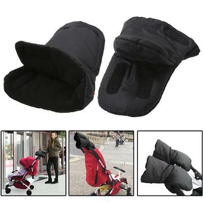 Black Waterproof Pram Stroller Pushchair Hand Gloves Winter Thickened Warm Muff