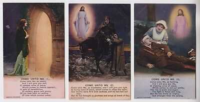 "SET OF 3 POSTCARDS - Bamforth Song Cards ""Come Unto Me"" WW1 military #4839"