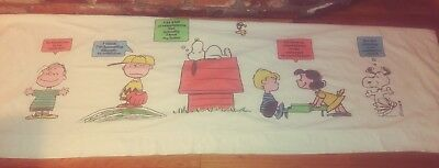 Vtg 1971 Peanuts Snoopy Charlie Brown Lucy Linus Twin Flat Sheet